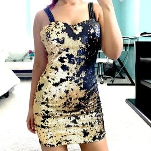 Esley Black & Gold Sequin Holiday Dress